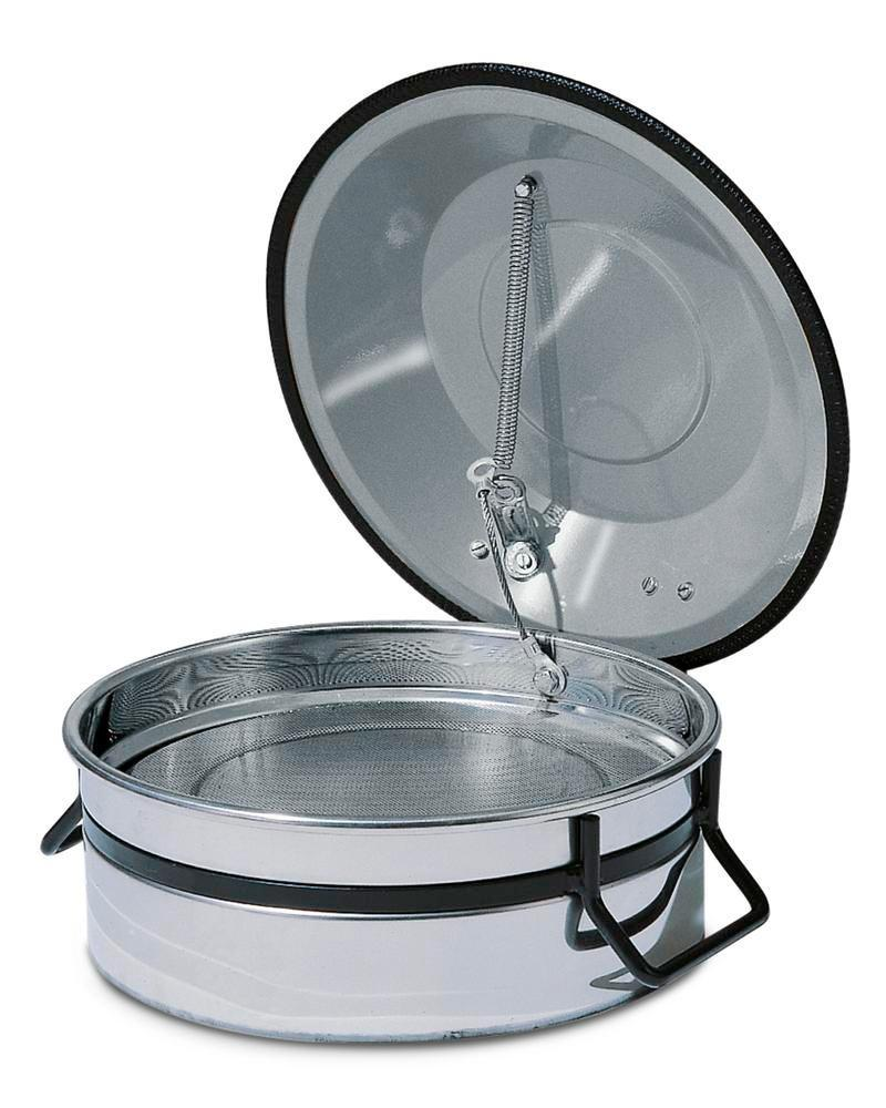 Small parts cleaner in stainless steel with immersion strainer, 2.5 litre volume