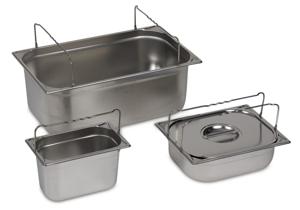 Spill tray for small containers GN-B 2/4-100, stainless steel, with handle, 6 litre capacity
