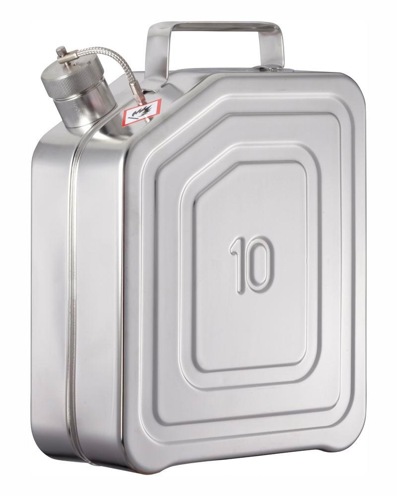Stainless steel canister with screw cap and pressure release valve, 10 litres