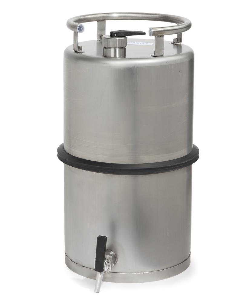 Stainless steel container, 25 ltr with tap 3/4 - 1