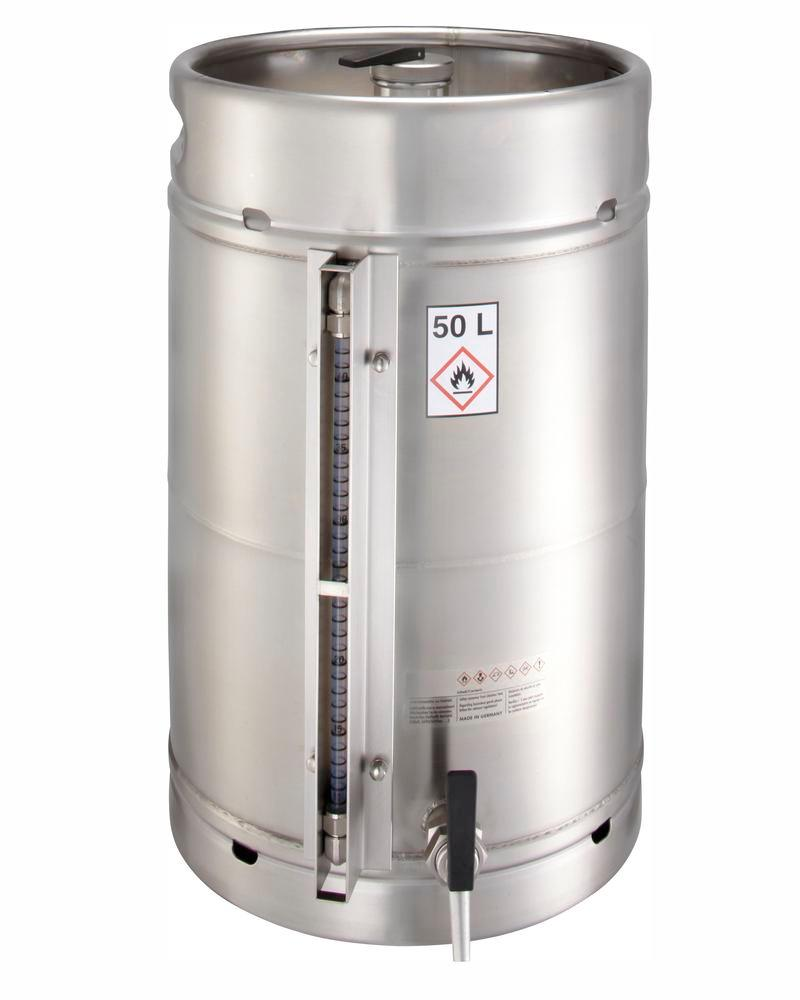 Stainless steel container with a filling level indicator, 50 ltr