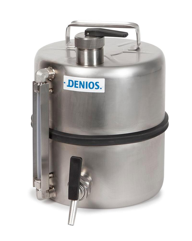 Stainless steel floor mounted device with level indicator, 10 litre volume