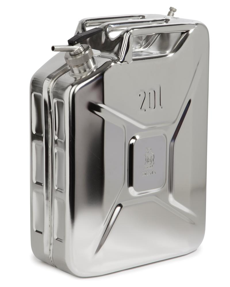 Stainless Steel Fuel Can, With Fine Measuring Tap, 20l - 1