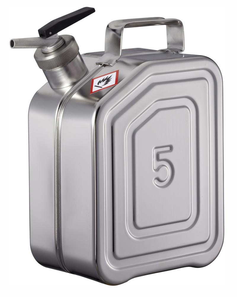 Stainless Steel Fuel Can, With Fine Measuring Tap, 5l - 1