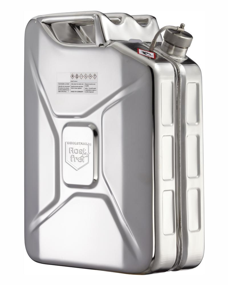 Stainless Steel Fuel Can, With Screw Cap and Pressure Release Valve, 20l