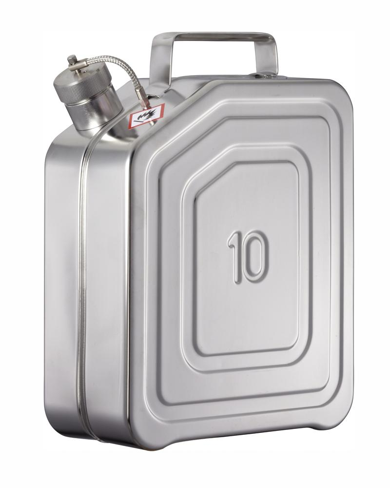 Stainless Steel Fuel Can, With Screw Cap, No Valve, 10l