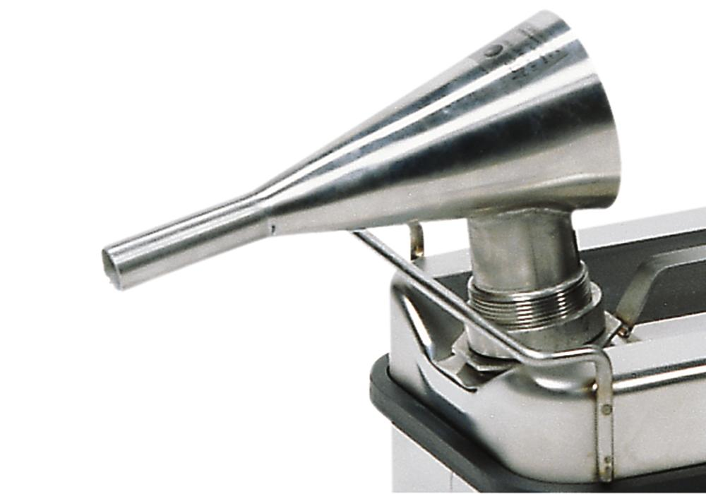 Stainless steel funnel with flame barrier
