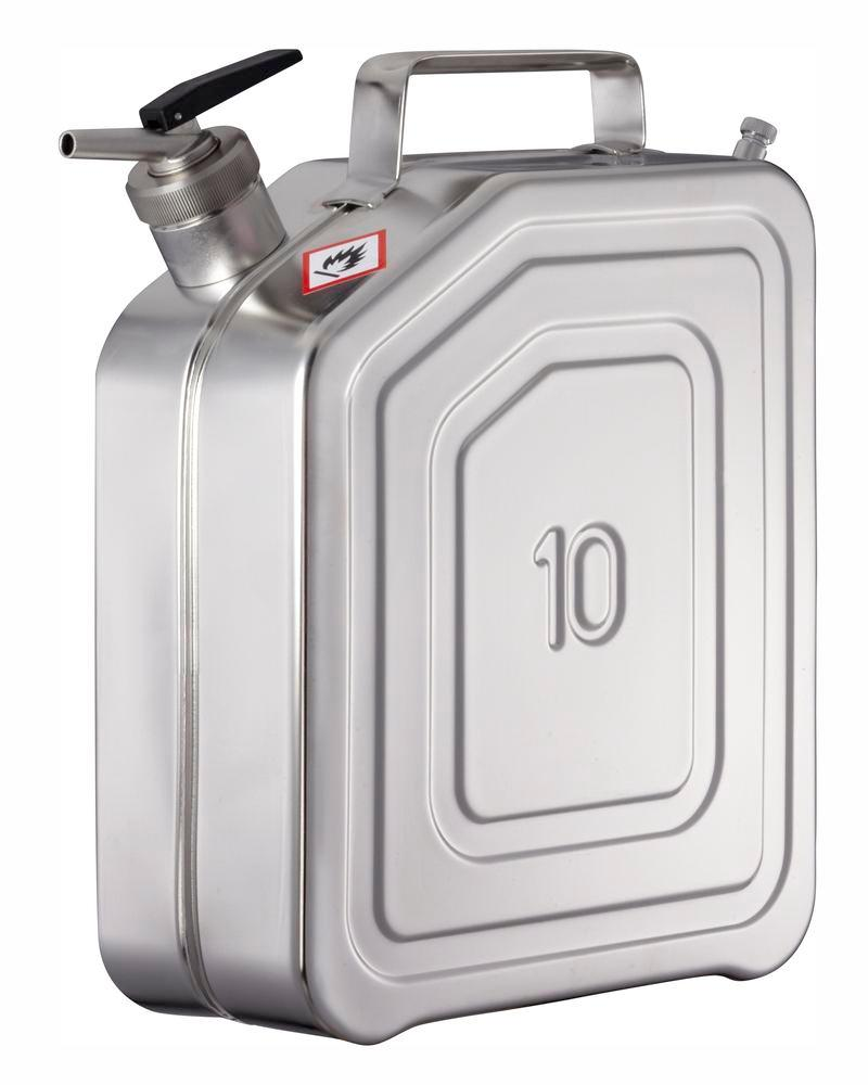 Stainless Steel Jerrican with tap and ventilation, 10 litre volume
