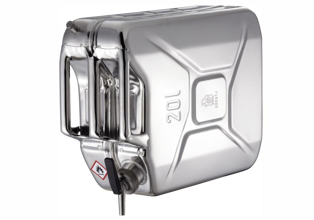 Stainless Steel Jerrican with tap and ventilation, 20 litre volume - 1