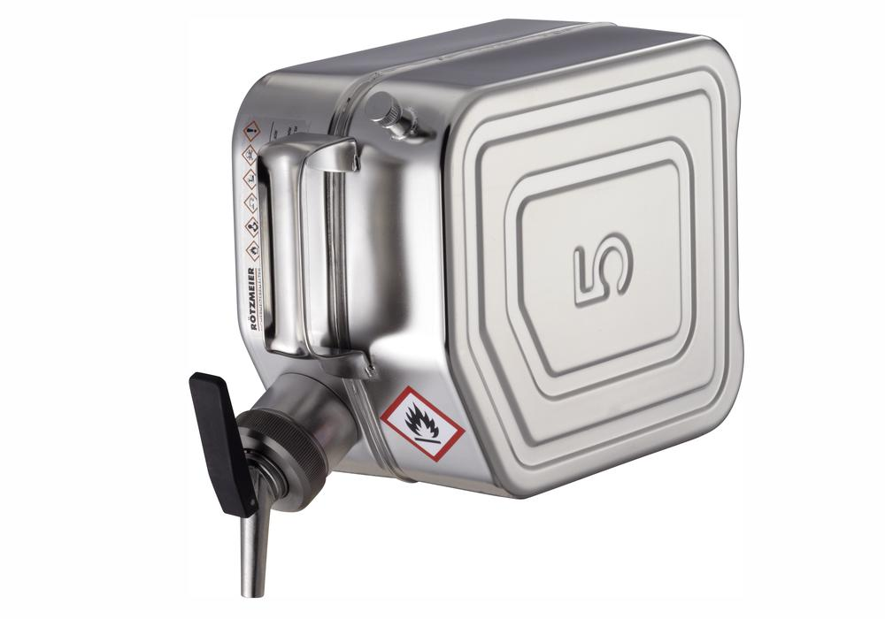 Stainless Steel Jerrican with tap and ventilation, 5 litre volume - 1