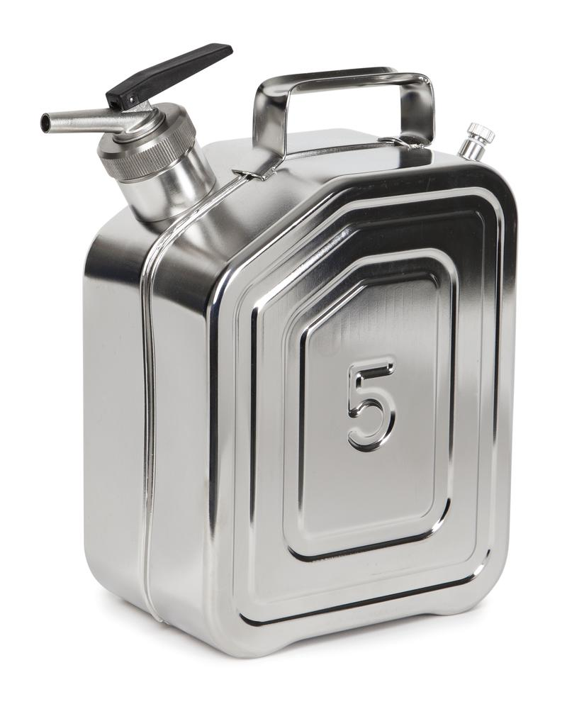 Stainless Steel Jerrican with tap and ventilation, 5 litre volume