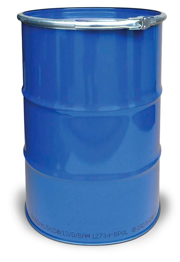 Steel lid drum, 212 litre capacity, interior unpainted, exterior painted, UN approved - 1