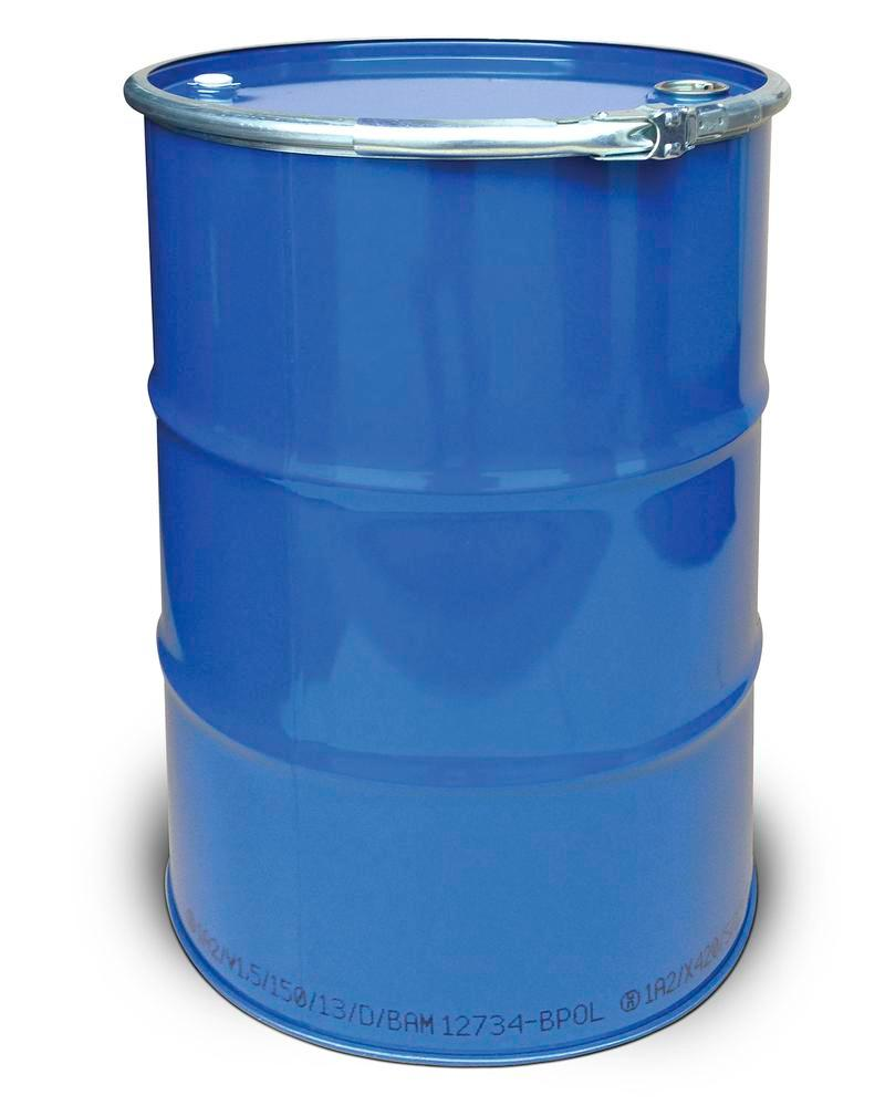 Steel lid drum, 212 litre capacity, interior unpainted, exterior painted, with 2 bungs, UN approved - 1
