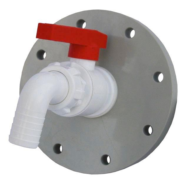 Stopcock, polypropylene, for chemical tanks, 1 1/4 inch