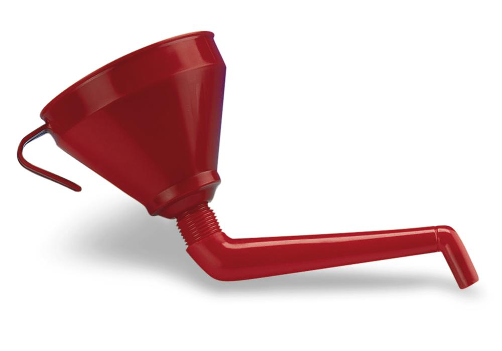 Synthetic funnel, cylindrical shape, with curved funnel neck and brass strainer, Ø 160mm