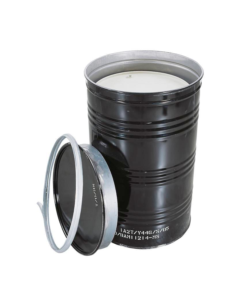 T Coded Salvage Drum, manufactured from steel, with UN certification and clamp ring, black - 1