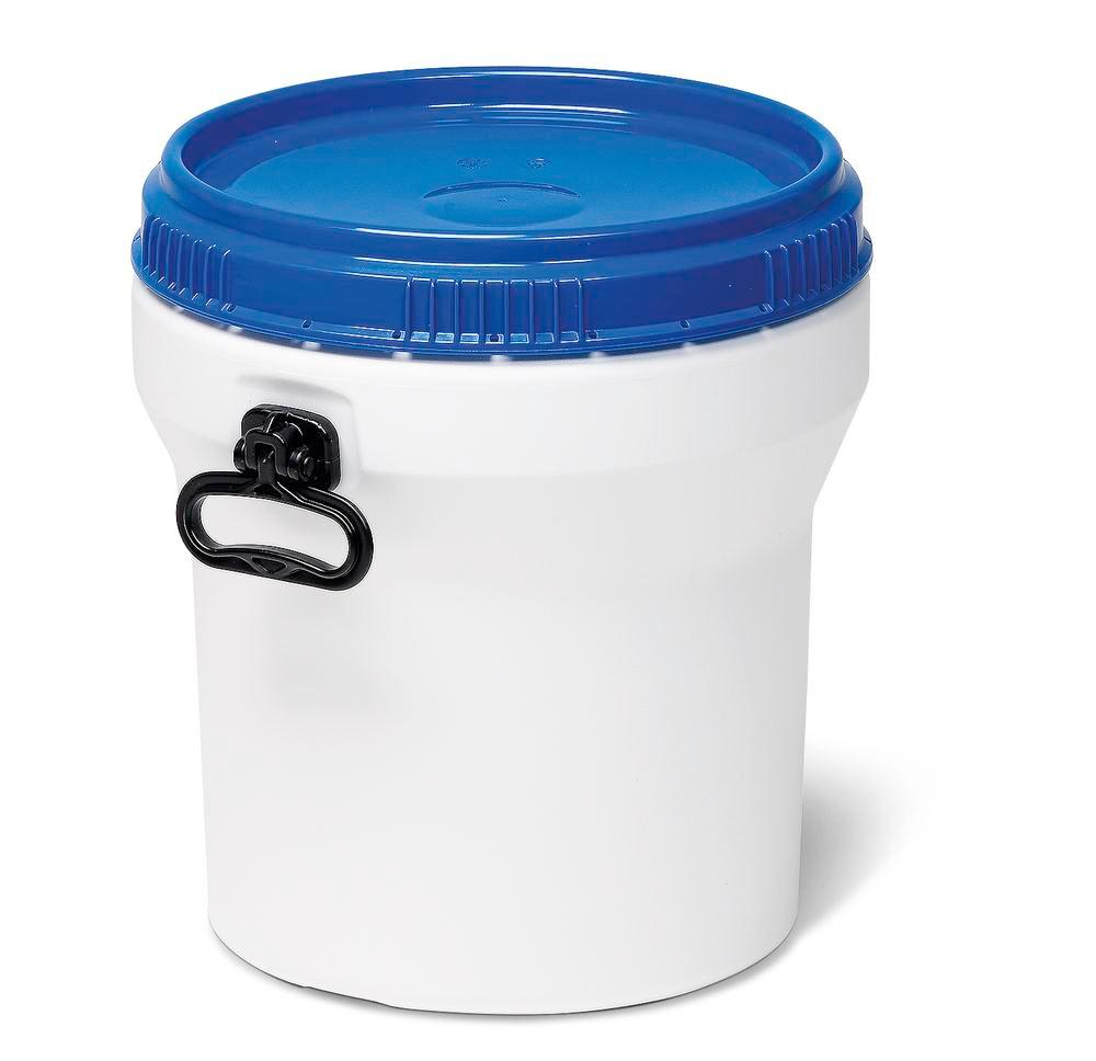 Wide necked drum, plastic, 30 l, white/ blue, nesting, with UN approval, with lid - 1