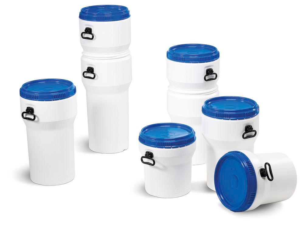 Wide necked drum, plastic, 30 l, white/ blue, nesting, with UN approval, with lid