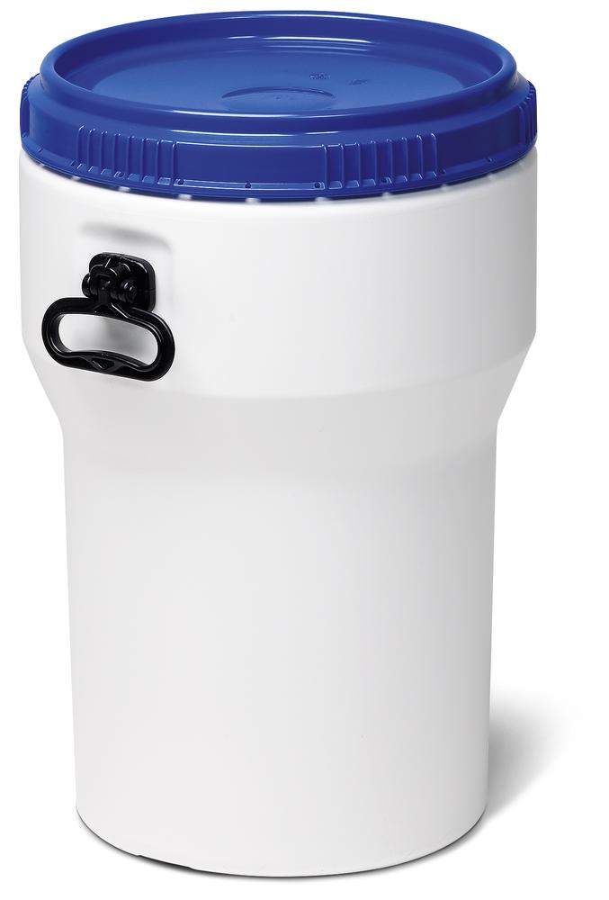 Wide necked drum, plastic, 40 l, white/ blue, nesting, with UN approval, with lid