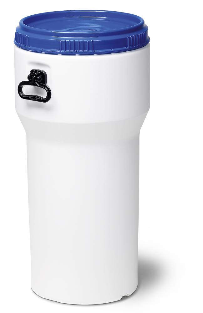 Wide necked drum, plastic, 60 l, white/ blue, nesting, with UN approval, with lid