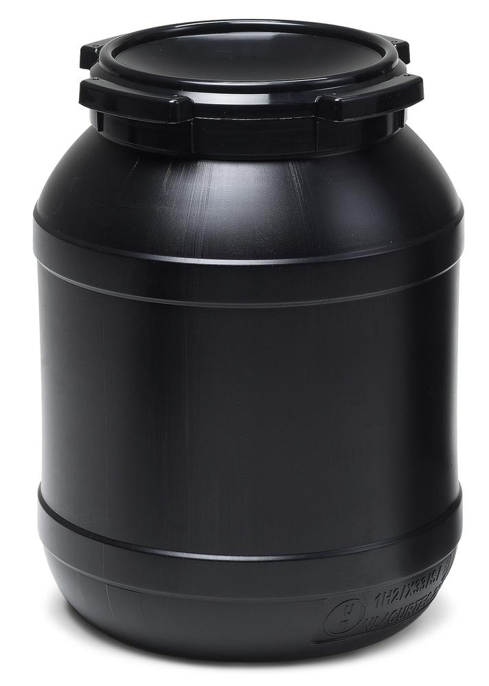 Wide necked drum WH 15, with UV protection, 15 l, black, UN approved