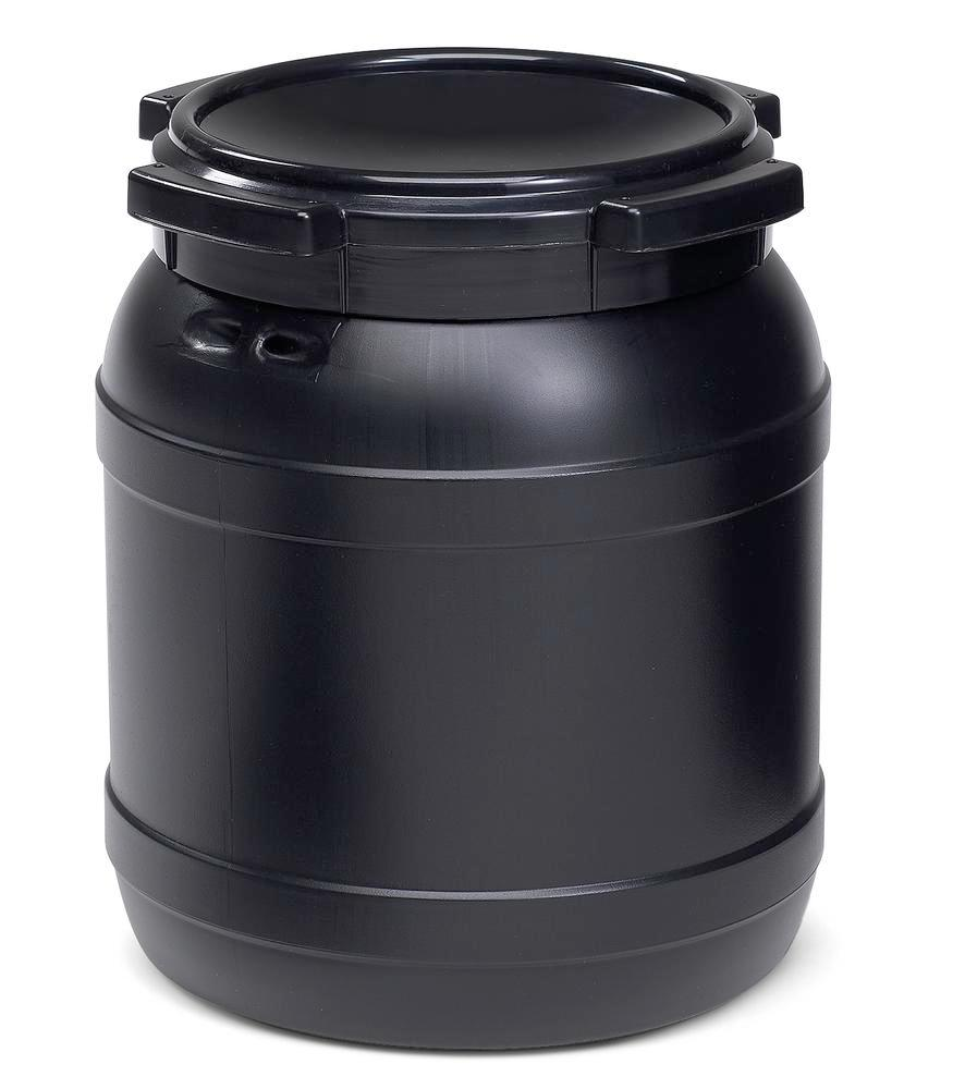 Wide necked drum WH 26, with UV protection, 26 l, black, UN approved - 1