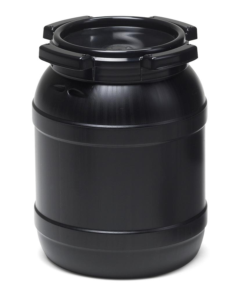 Wide necked drum WH 6, with UV protection, 6 l, black, UN approved