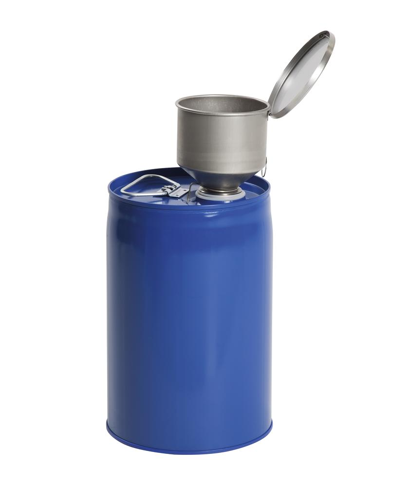 2 Safety combi container, painted steel with PE inner bladder, contains 12 litres.