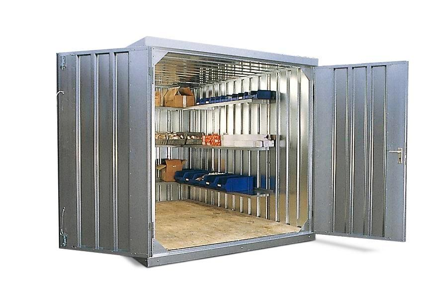 Component container MC 320-t2 with 2-wing door, supplied flat-pack, galvanised