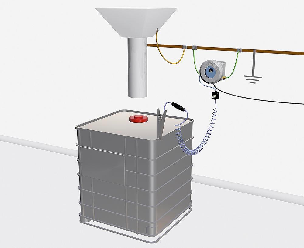 Earthing station ER Plus, intrinsically safe, 3 LEDs, 2 monitoring  contacts, + junction box with 5 m