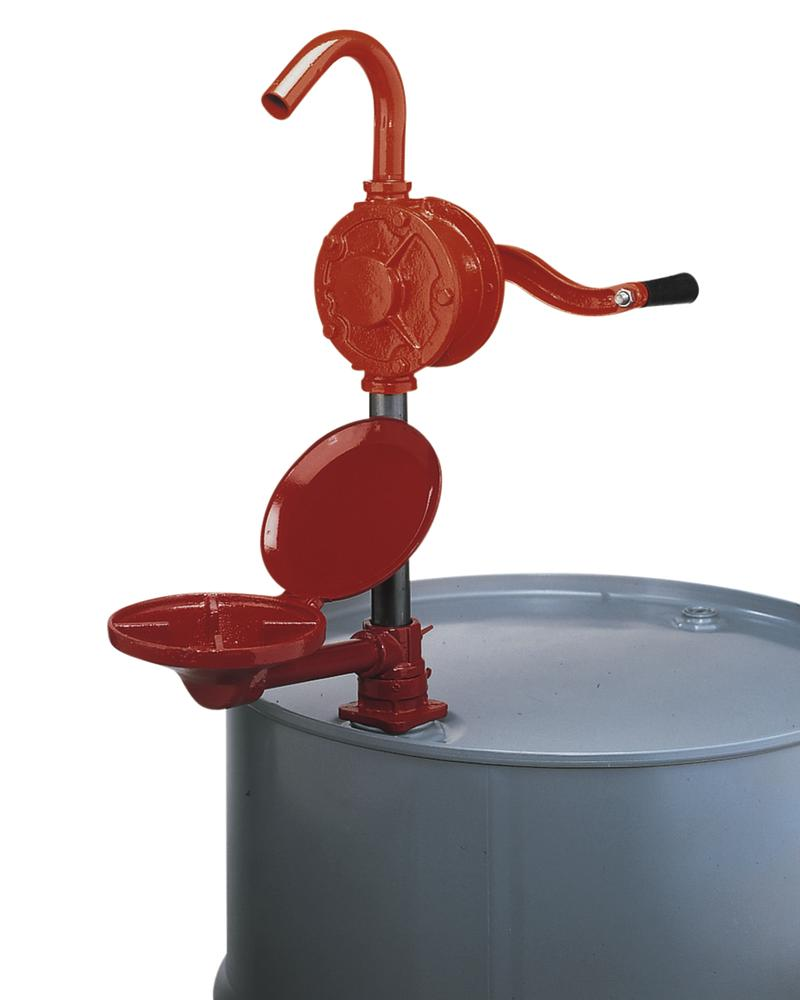 Hand operated rotation pump, cast iron, with steel submersion pipe and swivel arm