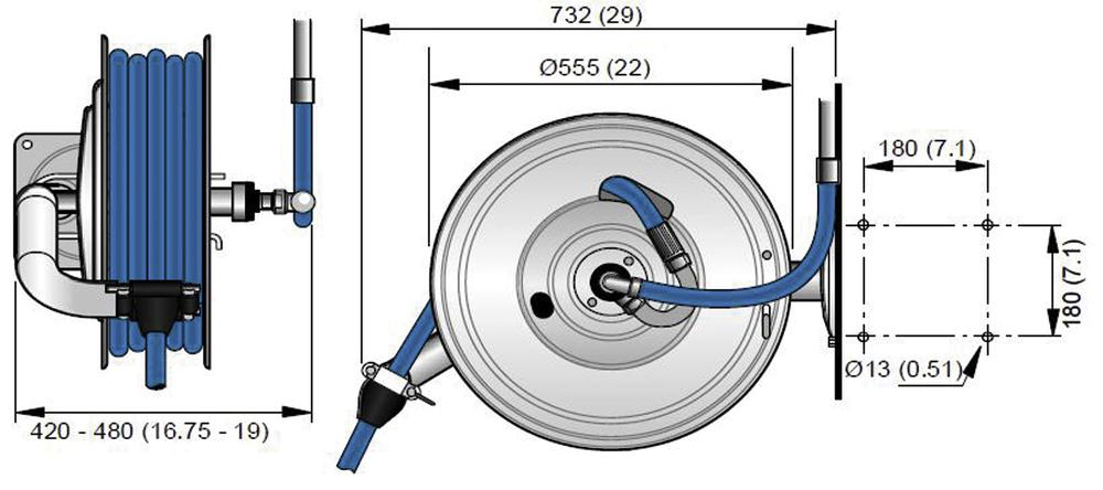 """Hose reel EX-H05, without hose, for Ø 1/2"""" - 25m hose, stainless steel, e-polished, Atex"""