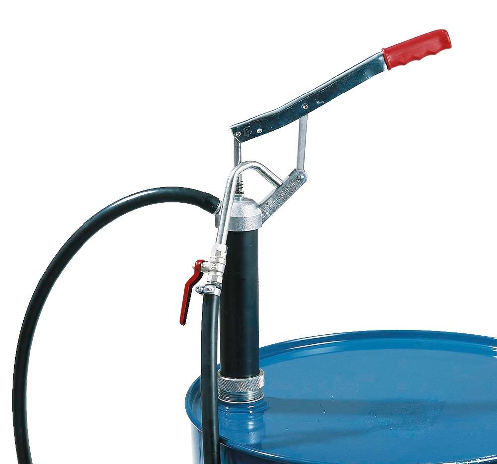 Manual lever pump FL 205, with hose, ball valve and nozzle, for flammable solvents