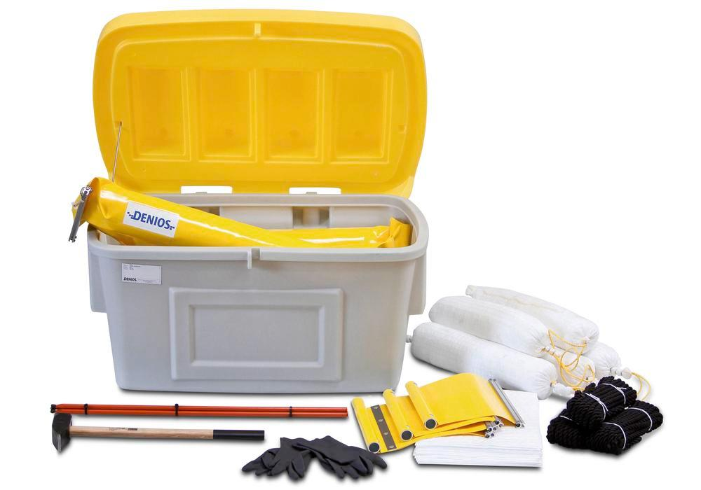 Oil barrier kit, 10 metres, with extensive accessories, in polyethylene (PE) weather-proof container