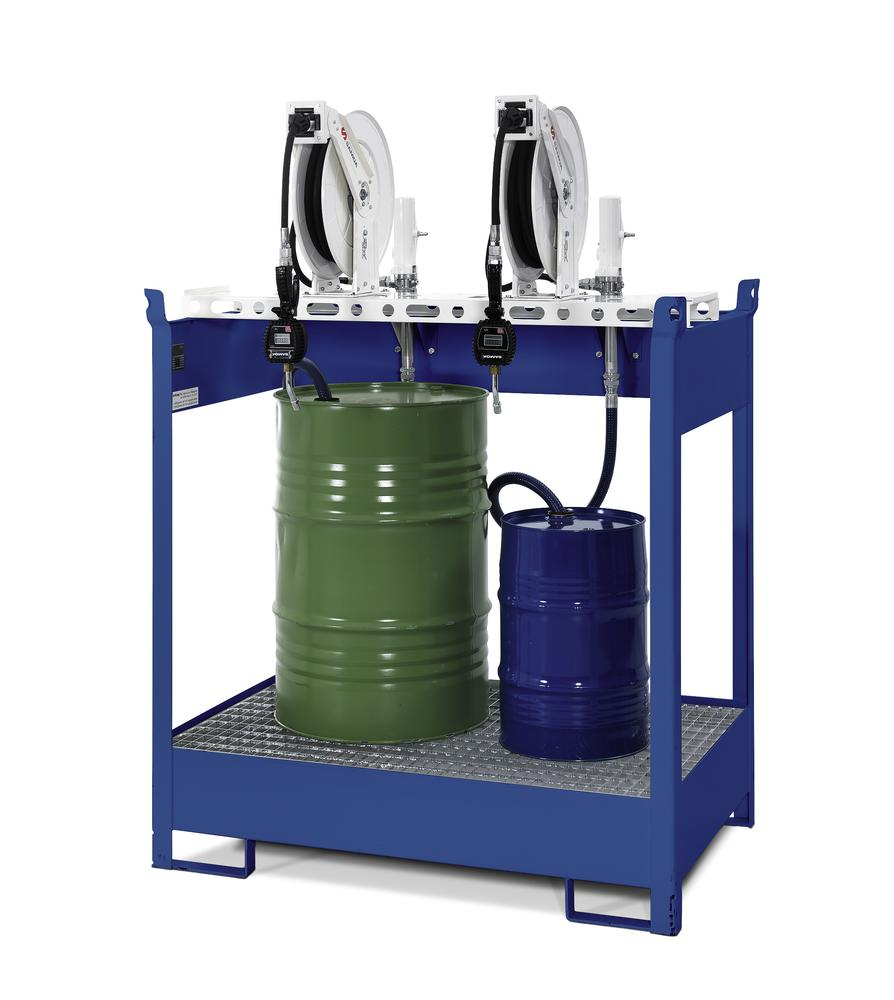 Oil dispensing station with spill pallet for 2 drums, 2 x compressed air pumps, hose reel 10m