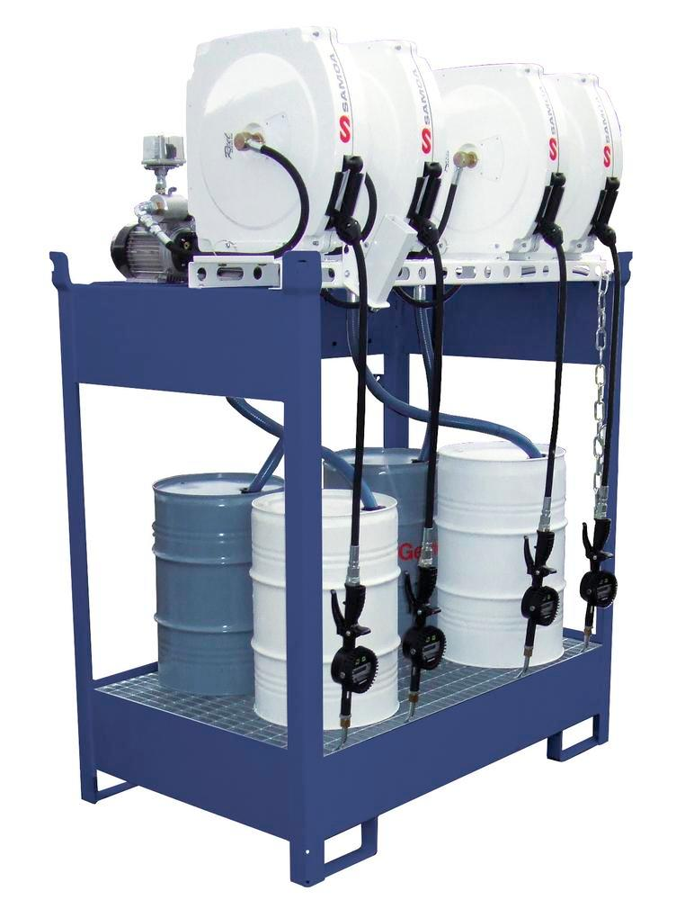 Oil dispensing station with spill pallet for 4 drums, 4 x electric pumps, hose reel 10m - 1