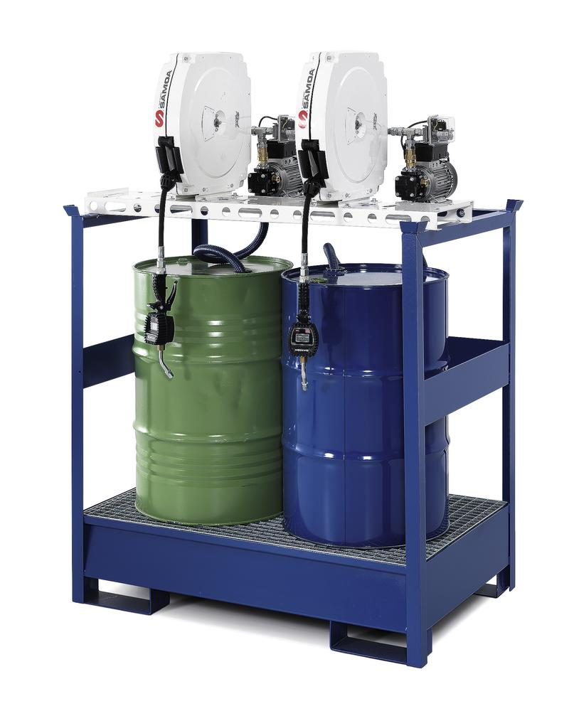 Oil station with spill pallet for 2 drums, 2 x electric pumps, enclosed hose reel 10m, nozzle, meter