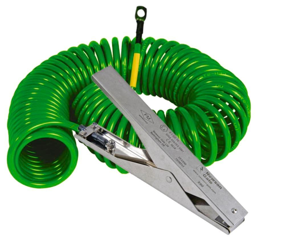 Spiral earth cable with 1 st. steel earthing clip heavy duty 235 mm 1 eye, 5 m pull-out length, ATEX