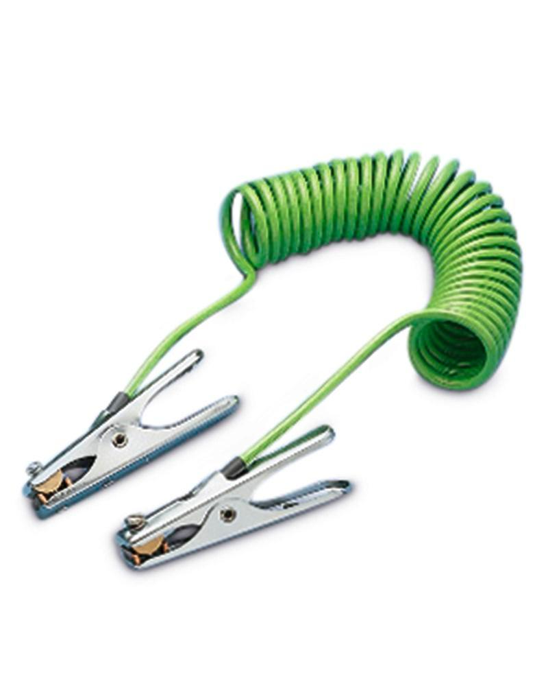 Spiral earthing cable, 3 m long, 2 clips - 1