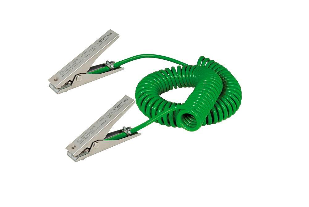 Spiral earthing cable with 2 SS earthing clips MD 120mm, ATEX approval, 3 m cable