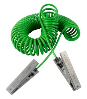 Spiral earthing cable with 2 st. steel earth clips med duty 120 mm, 5 m pull-out length, ATEX-w280px