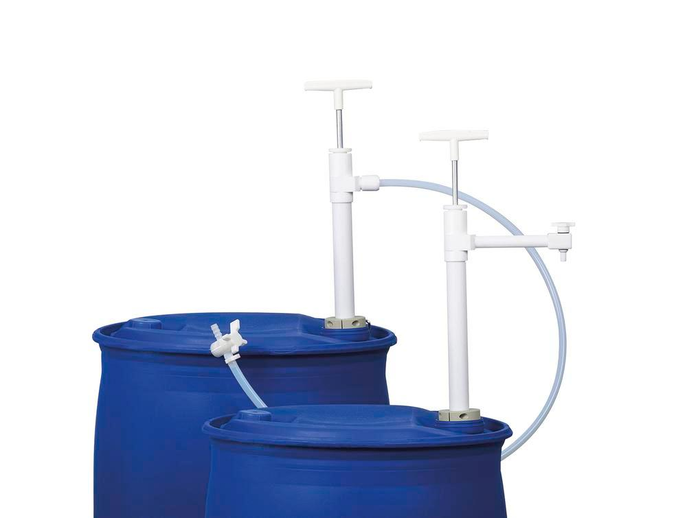 Ultra-pure drum pump and 1.2 m dispensing hose made of PTFE, w. PVDF stop valve, immersion depth 950