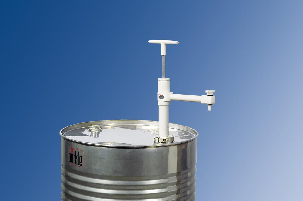Ultra-pure drum pump with fixed spout and stop valve in PTFE, immersion depth 950 mm