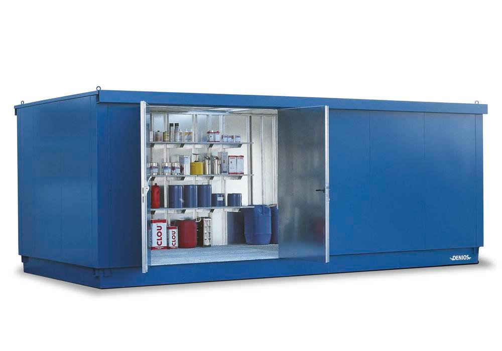 Walk-in HazMat storage container MC-V 6330-S-L2, with 2-wing door on long side, galvanised & painted