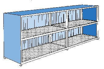 Basic-Store BS 80-2K-ST, with sliding doors, containment volume 2 x 3000 litres, for 12 IBCs or 48 d