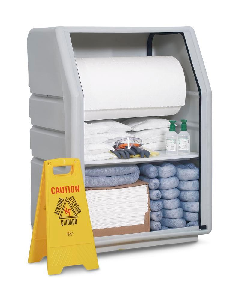 DENSORB Emergency Spill Kit in Safety Cabinet PE incl. Absorbent Roll, Oil - 1