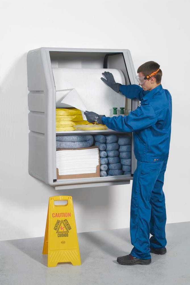 DENSORB Emergency Spill Kit in Safety Cabinet PE with Roller Shutter, incl. Absorbent Roll, Oil