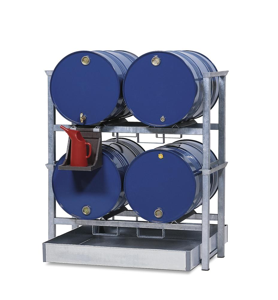 Drum rack AWS 1 for 4 x 205 litre drums, with spill pallet in steel - 205 l, PE dispensing tray