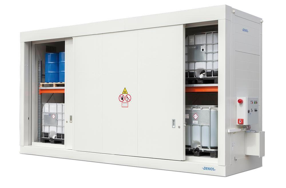Fire-rated storage container FBM base 714.30 OST with manual sliding door