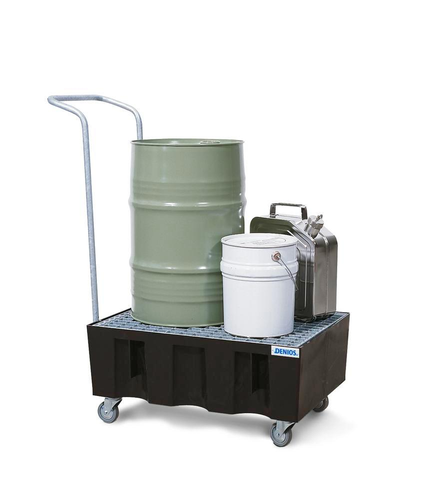 Handle, for bunded drum trolley PolySafe Euro, with swivel castors and galvanized grid